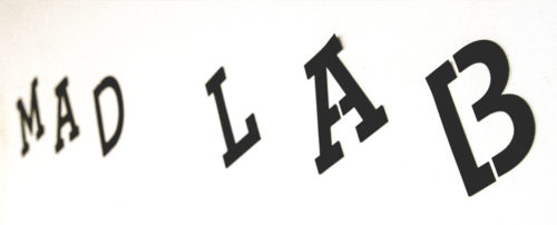Photograph of MadLab logo wall art