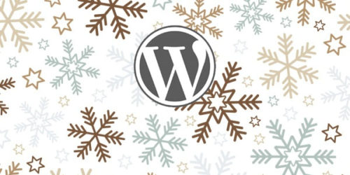 Graphic of Snowflakes and the WordPress logo